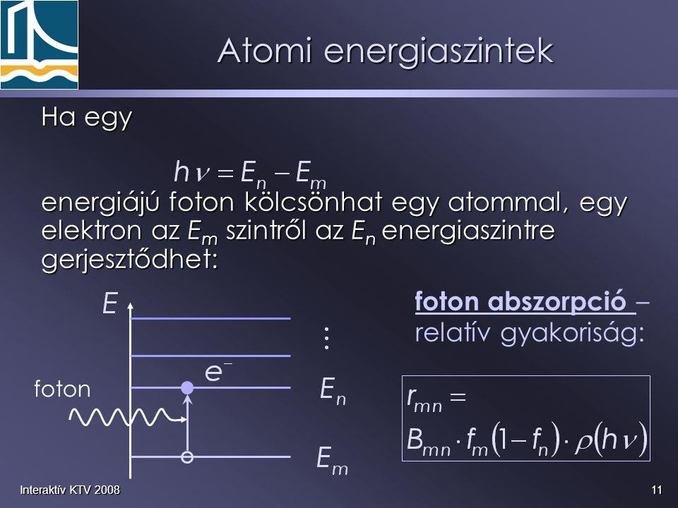 Atomi energiaszintek Ha egy energiájú foton kölcsönhat egy atommal, egy elektron az Em szintről az En energiaszintre gerjesztődhet: