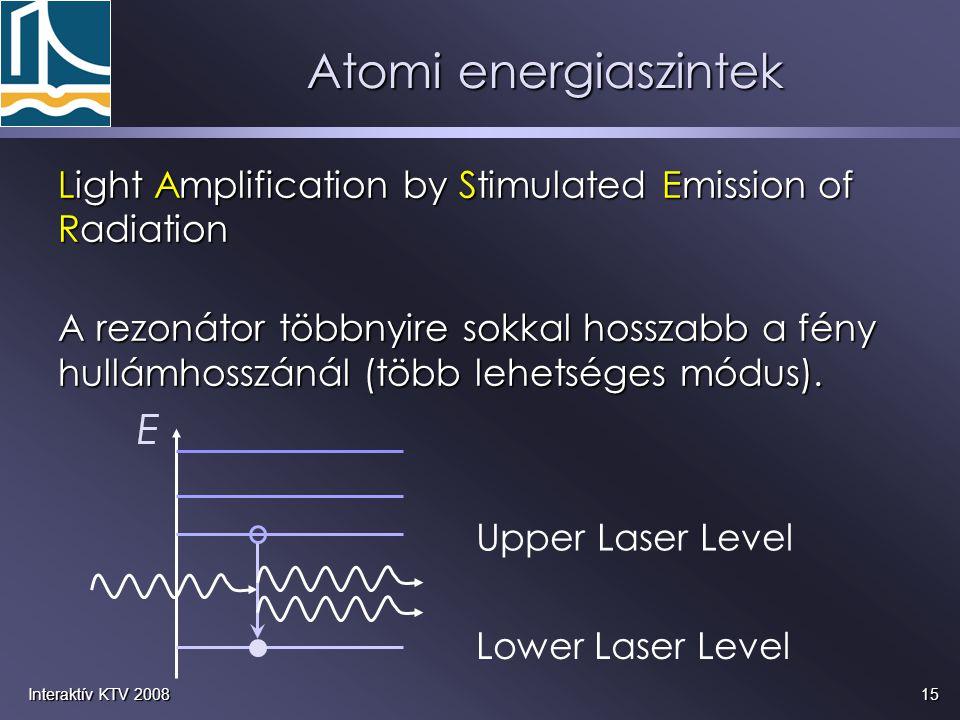 Atomi energiaszintek Light Amplification by Stimulated Emission of Radiation.