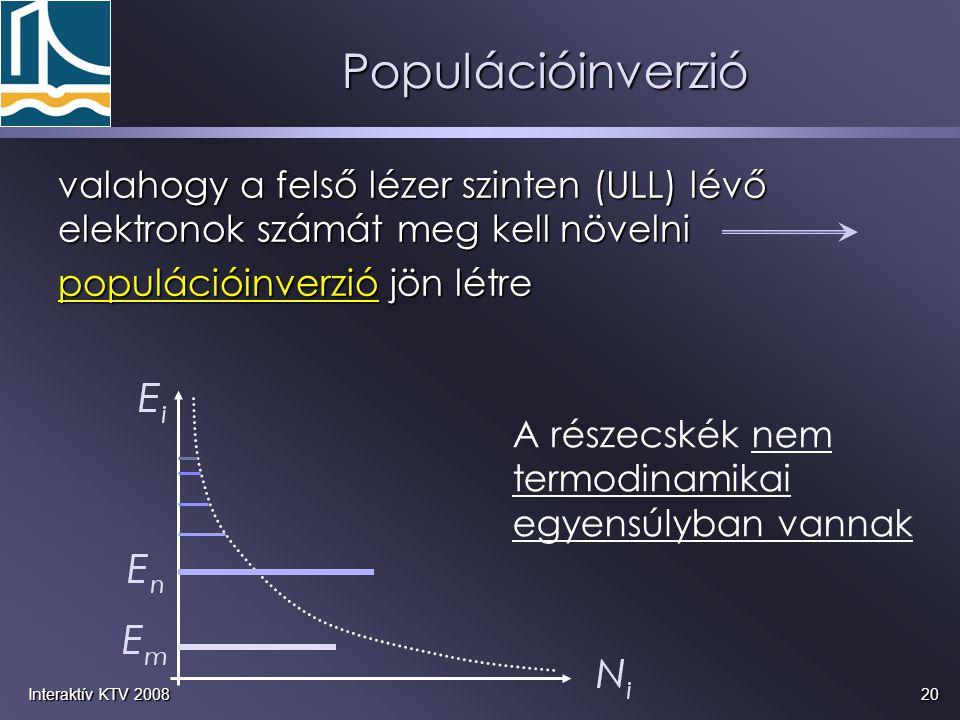 Populációinverzió valahogy a felső lézer szinten (ULL) lévő elektronok számát meg kell növelni. populációinverzió jön létre.