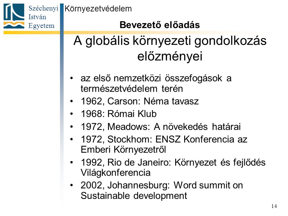 A globális környezeti gondolkozás előzményei