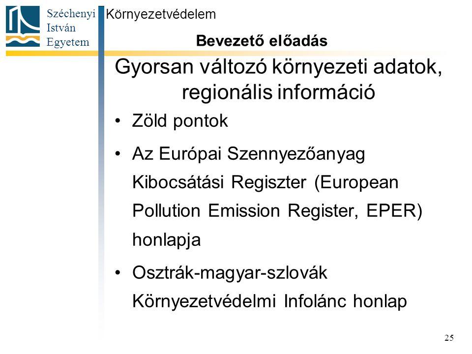 Gyorsan változó környezeti adatok, regionális információ
