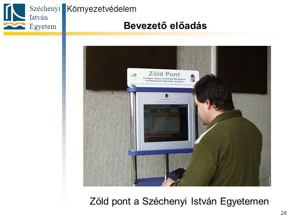 Zöld pont a Széchenyi István Egyetemen
