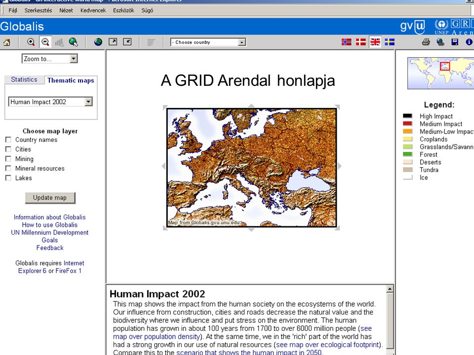 A GRID Arendal honlapja