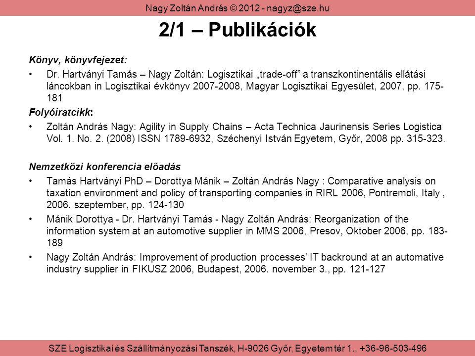 2/1 – Publikációk Könyv, könyvfejezet:
