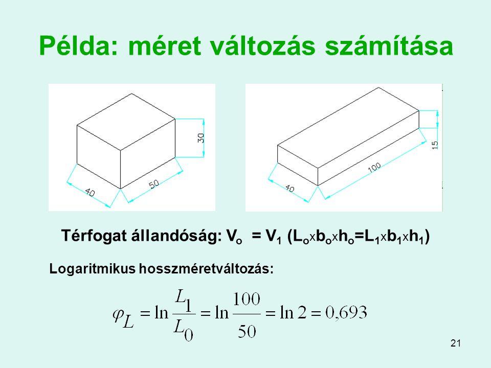 Példa: méret változás számítása