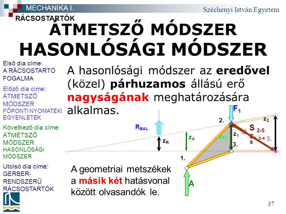 ÁTMETSZŐ MÓDSZER HASONLÓSÁGI MÓDSZER