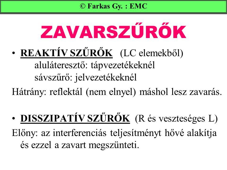 © Farkas Gy. : EMC ZAVARSZŰRŐK. REAKTÍV SZŰRŐK (LC elemekből) aluláteresztő: tápvezetékeknél sávszűrő: jelvezetékeknél.