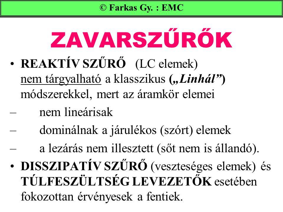 """© Farkas Gy. : EMC ZAVARSZŰRŐK. REAKTÍV SZŰRŐ (LC elemek) nem tárgyalható a klasszikus (""""Linhál ) módszerekkel, mert az áramkör elemei."""