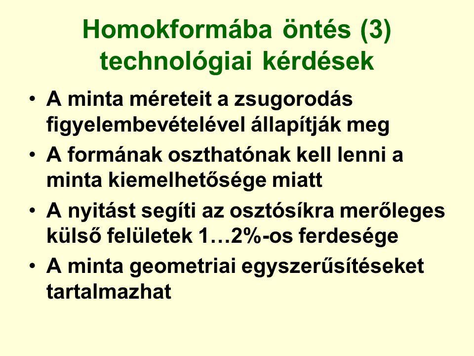 Homokformába öntés (3) technológiai kérdések