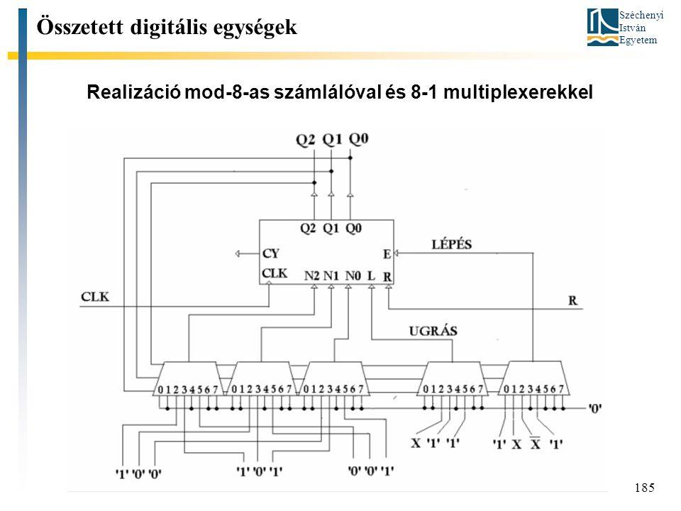 Realizáció mod-8-as számlálóval és 8-1 multiplexerekkel