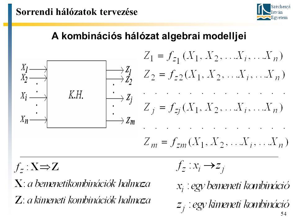 A kombinációs hálózat algebrai modelljei