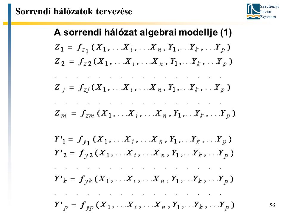 A sorrendi hálózat algebrai modellje (1)