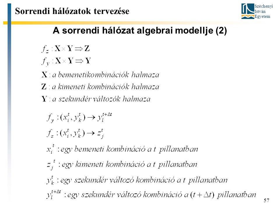 A sorrendi hálózat algebrai modellje (2)