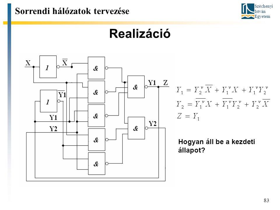 Realizáció Sorrendi hálózatok tervezése