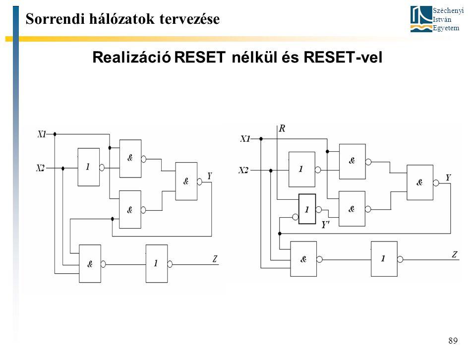 Realizáció RESET nélkül és RESET-vel
