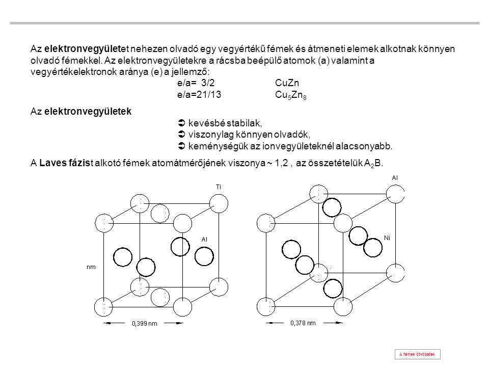 Az elektronvegyületet nehezen olvadó egy vegyértékű fémek és átmeneti elemek alkotnak könnyen olvadó fémekkel. Az elektronvegyületekre a rácsba beépülő atomok (a) valamint a vegyértékelektronok aránya (e) a jellemző: e/a= 3/2 CuZn e/a=21/13 Cu5Zn8