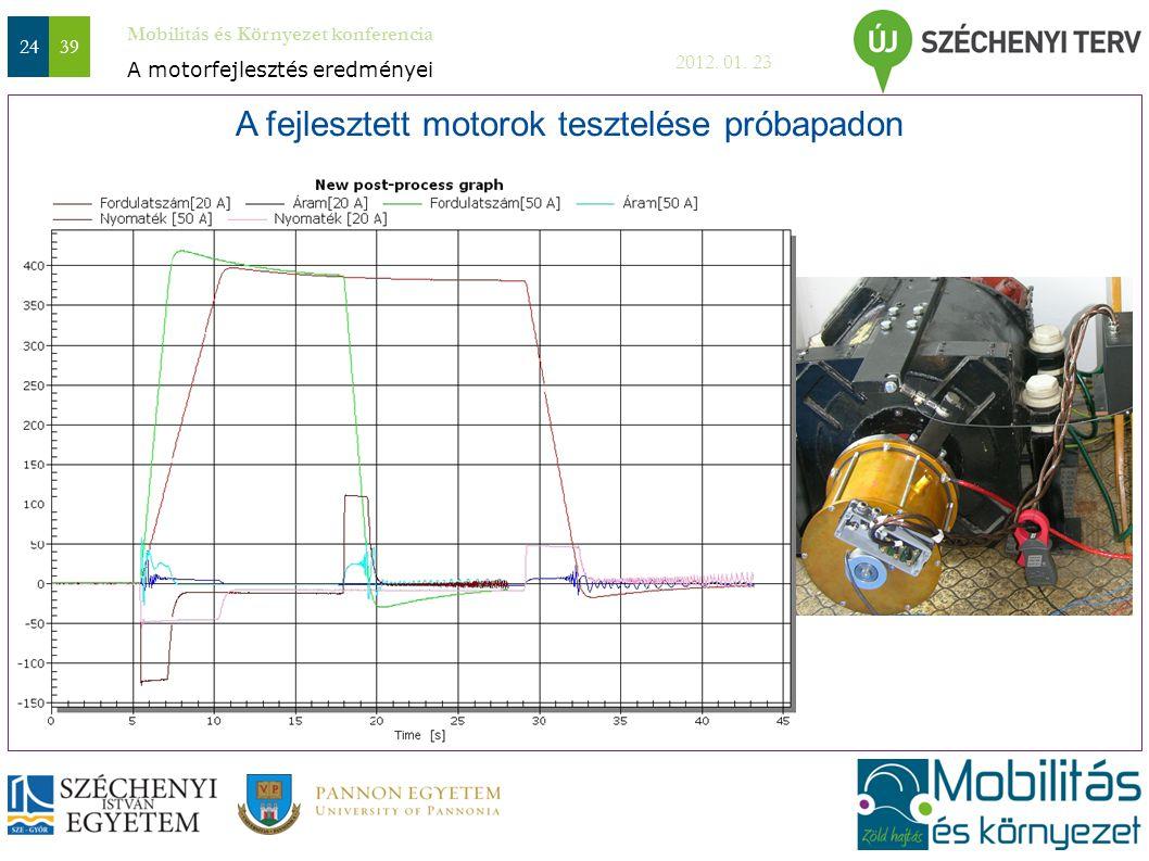 A fejlesztett motorok tesztelése próbapadon