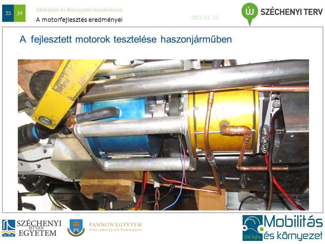 A fejlesztett motorok tesztelése haszonjárműben