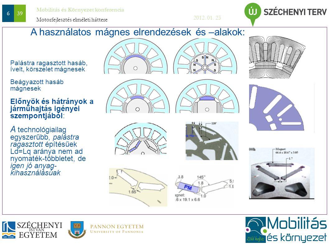 A használatos mágnes elrendezések és –alakok: