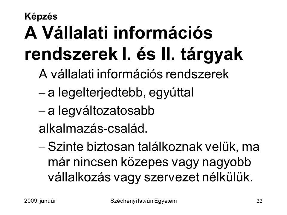 Képzés A Vállalati információs rendszerek I. és II. tárgyak