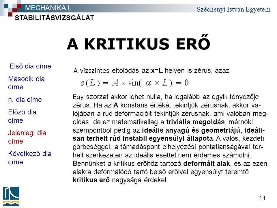 A KRITIKUS ERŐ MECHANIKA I. STABILITÁSVIZSGÁLAT Első dia címe