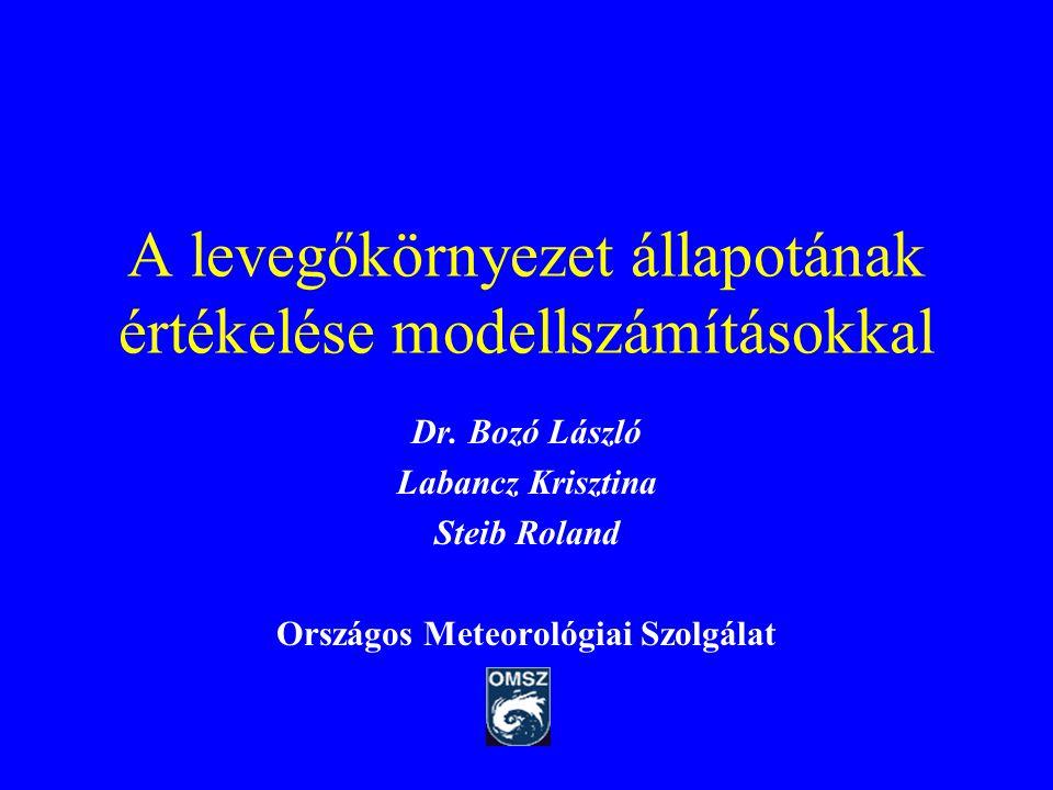 A levegőkörnyezet állapotának értékelése modellszámításokkal