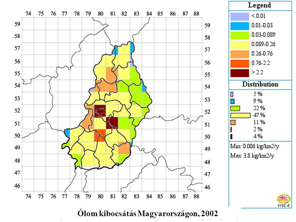 Ólom kibocsátás Magyarországon, 2002