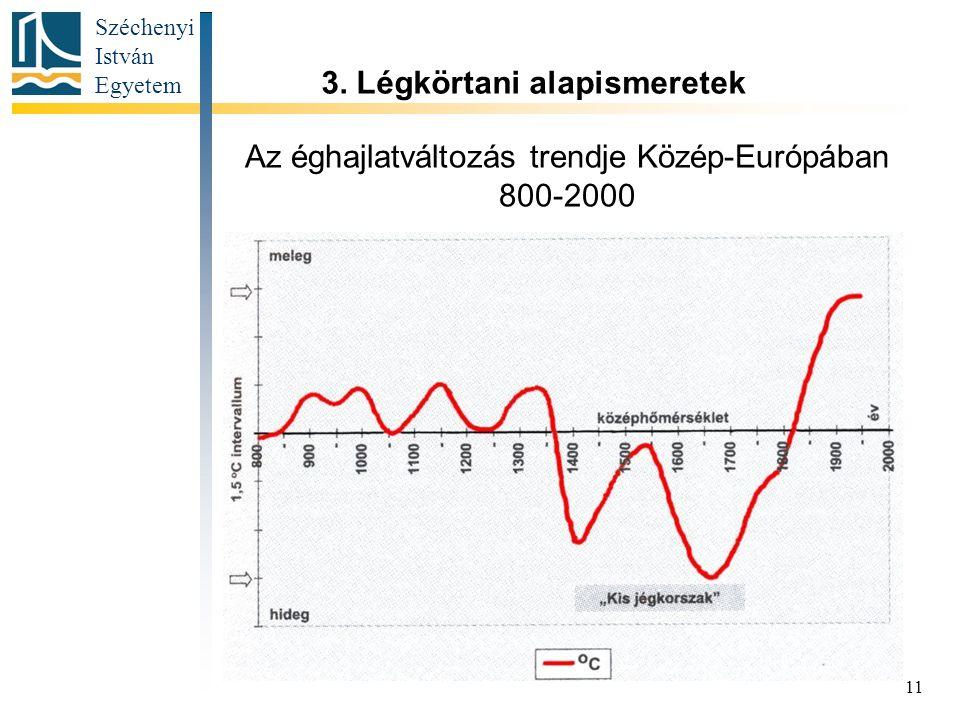 Az éghajlatváltozás trendje Közép-Európában 800-2000