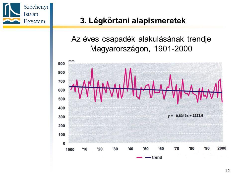 Az éves csapadék alakulásának trendje Magyarországon, 1901-2000