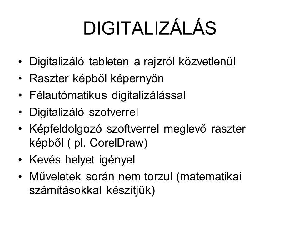 DIGITALIZÁLÁS Digitalizáló tableten a rajzról közvetlenül