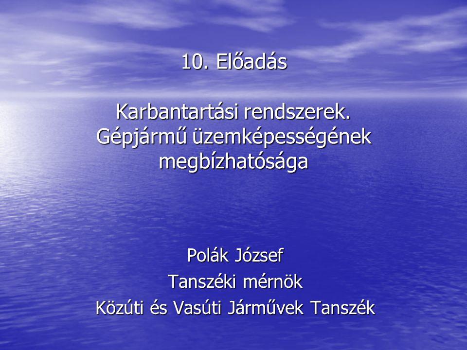 Polák József Tanszéki mérnök Közúti és Vasúti Járművek Tanszék