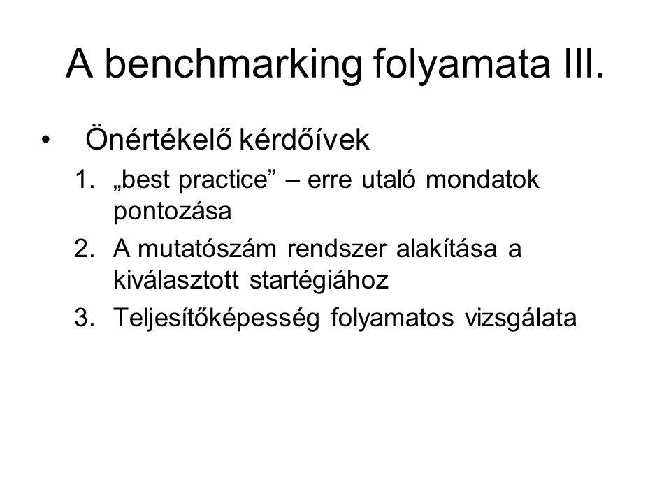 A benchmarking folyamata III.