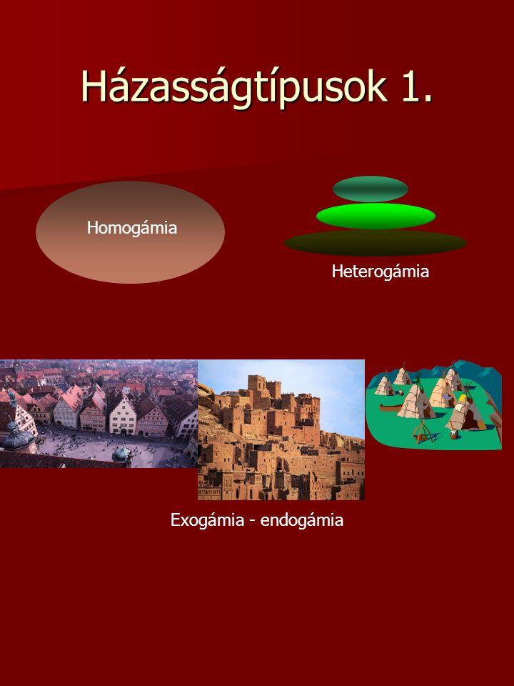 Házasságtípusok 1. Homogámia Heterogámia Exogámia - endogámia