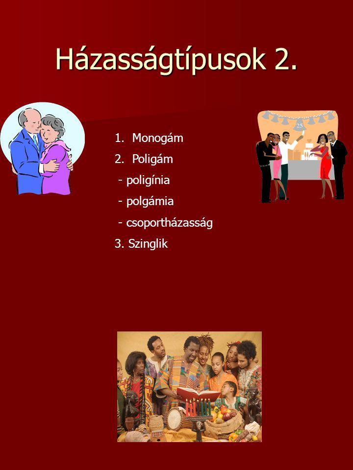 Házasságtípusok 2. Monogám Poligám - poligínia - polgámia