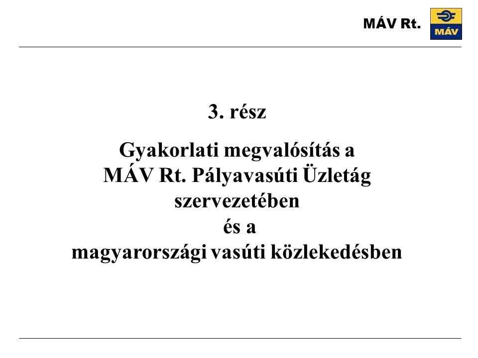 MÁV Rt. 3. rész. Gyakorlati megvalósítás a MÁV Rt.