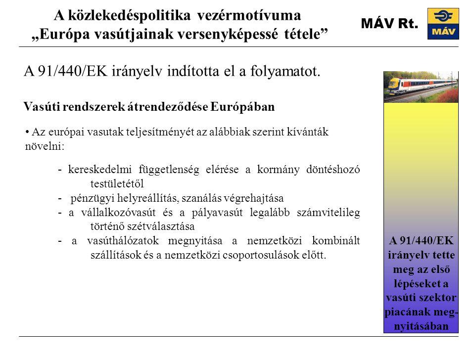 A 91/440/EK irányelv indította el a folyamatot.