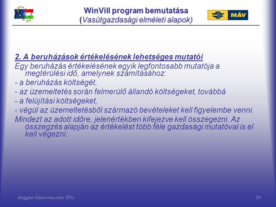WinVill program bemutatása (Vasútgazdasági elméleti alapok)