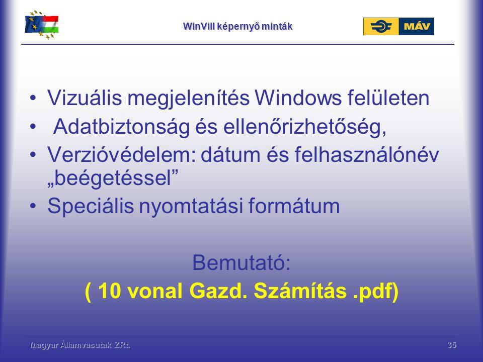 WinVill képernyő minták