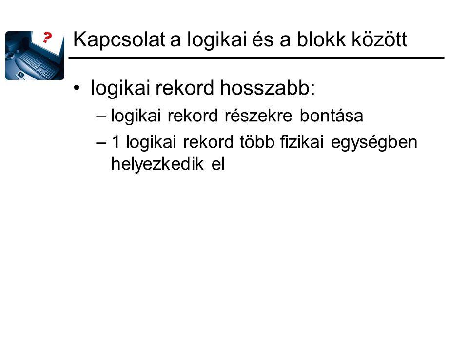 Kapcsolat a logikai és a blokk között