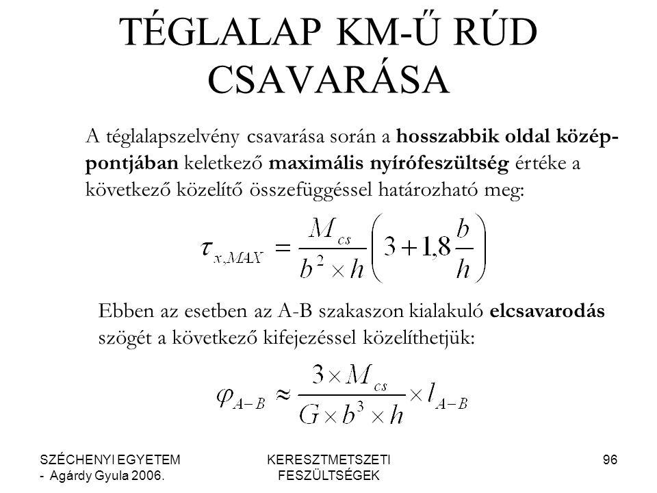 TÉGLALAP KM-Ű RÚD CSAVARÁSA