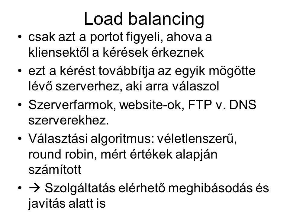 Load balancing csak azt a portot figyeli, ahova a kliensektől a kérések érkeznek.