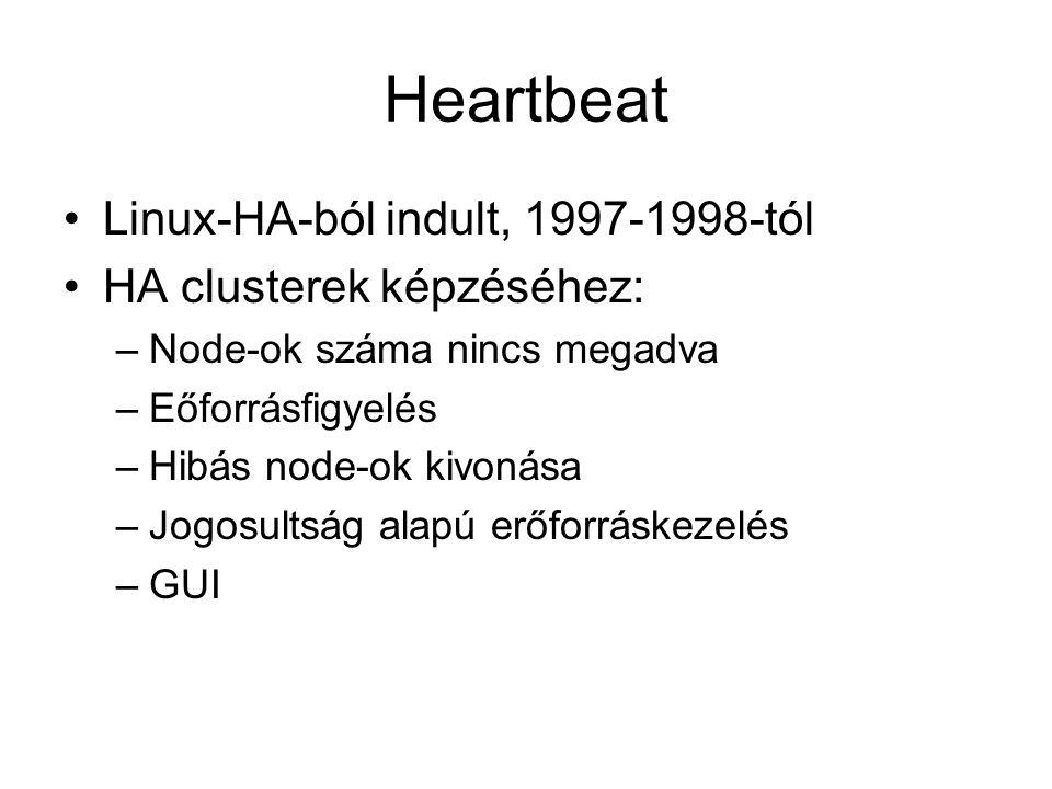 Heartbeat Linux-HA-ból indult, 1997-1998-tól HA clusterek képzéséhez:
