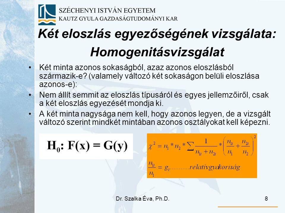 Két eloszlás egyezőségének vizsgálata: Homogenitásvizsgálat