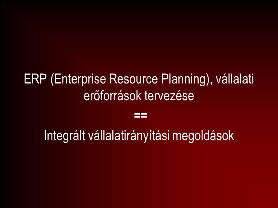 ERP (Enterprise Resource Planning), vállalati erőforrások tervezése ==