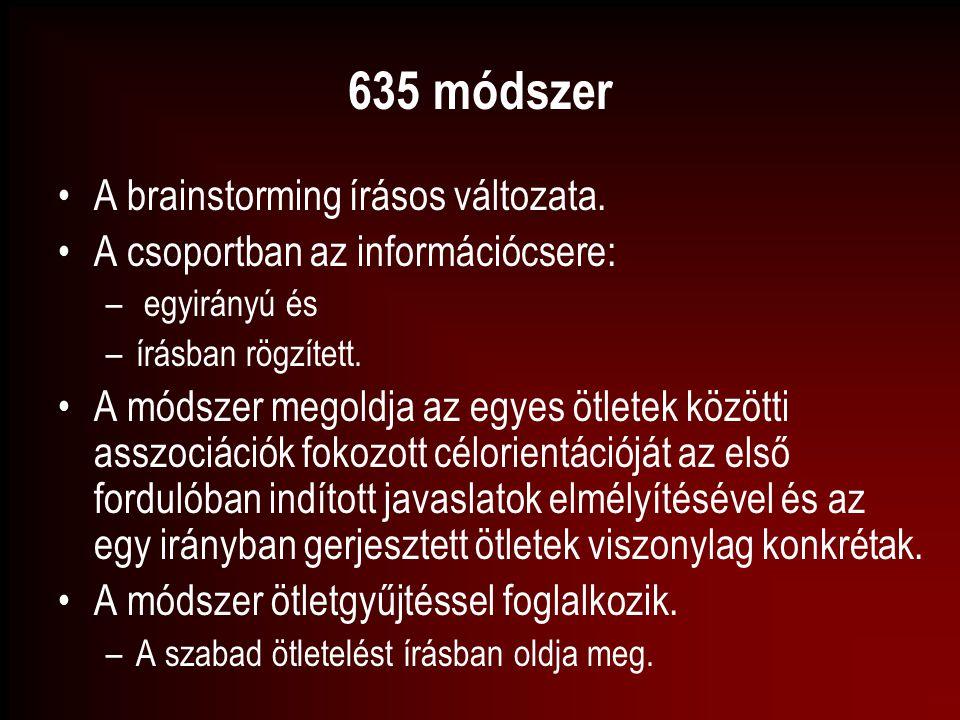 635 módszer A brainstorming írásos változata.