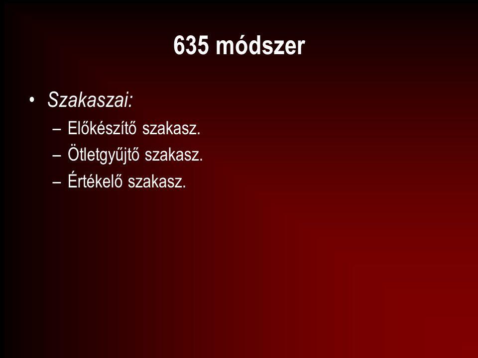 635 módszer Szakaszai: Előkészítő szakasz. Ötletgyűjtő szakasz.