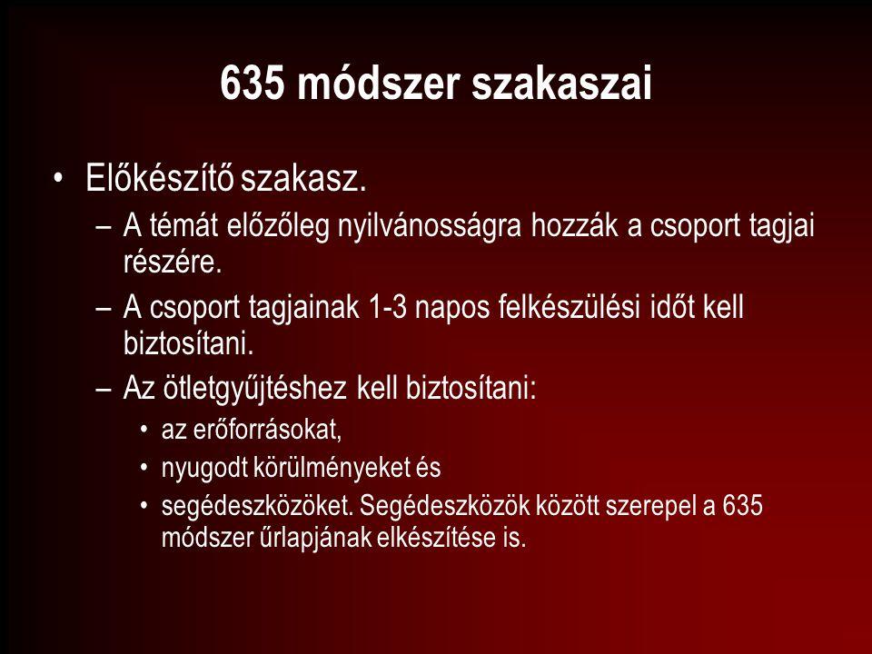 635 módszer szakaszai Előkészítő szakasz.