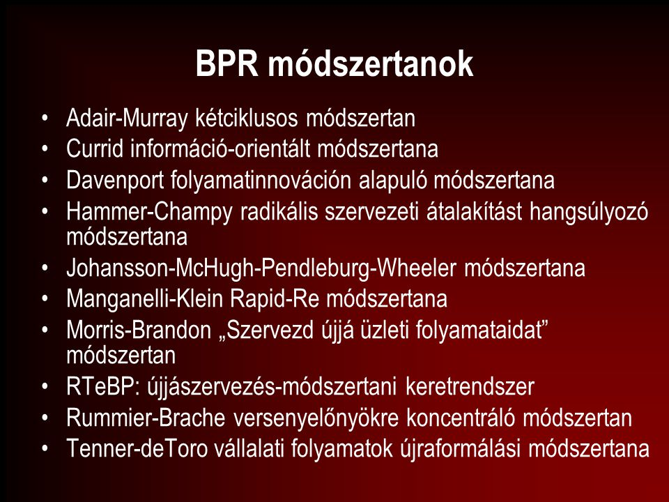 BPR módszertanok Adair-Murray kétciklusos módszertan
