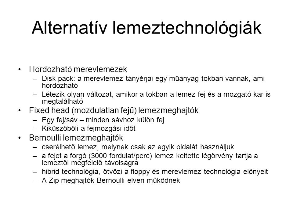 Alternatív lemeztechnológiák