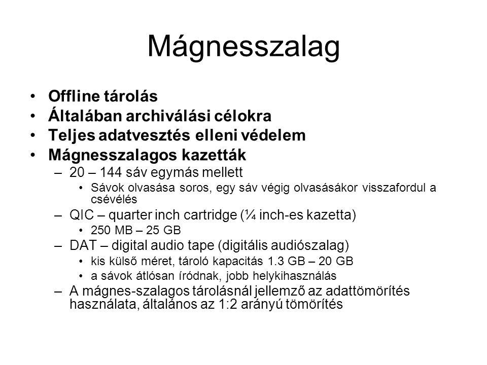 Mágnesszalag Offline tárolás Általában archiválási célokra